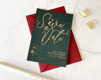 Foil Save the Date wedding card   DARK GREEN Cardstock   SPLATTER Rose Gold, Silver Foil, Gold Foil   A6