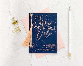 Foil Save the Date wedding card   Navy Blue Cardstock   Splatter Rose Gold, Silver Foil, Gold Foil   A6