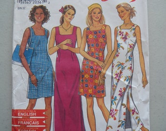 68dae2fe Simplicity New Look 6630 Pattern for an Easy Sleeveless Summer Dress, Square  Neckline, Zipper Back, Sizes 6 - 16, Uncut Factory Folded