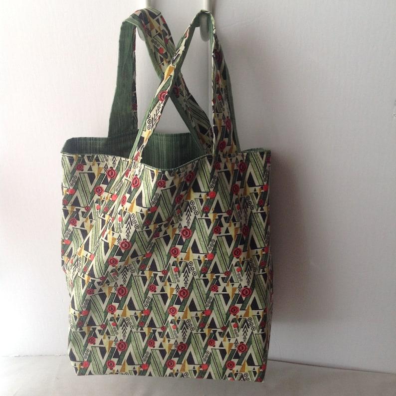 Art Deco Roses Reusable Reversible Washable Multi-use Fabric Tote Shopping Bag