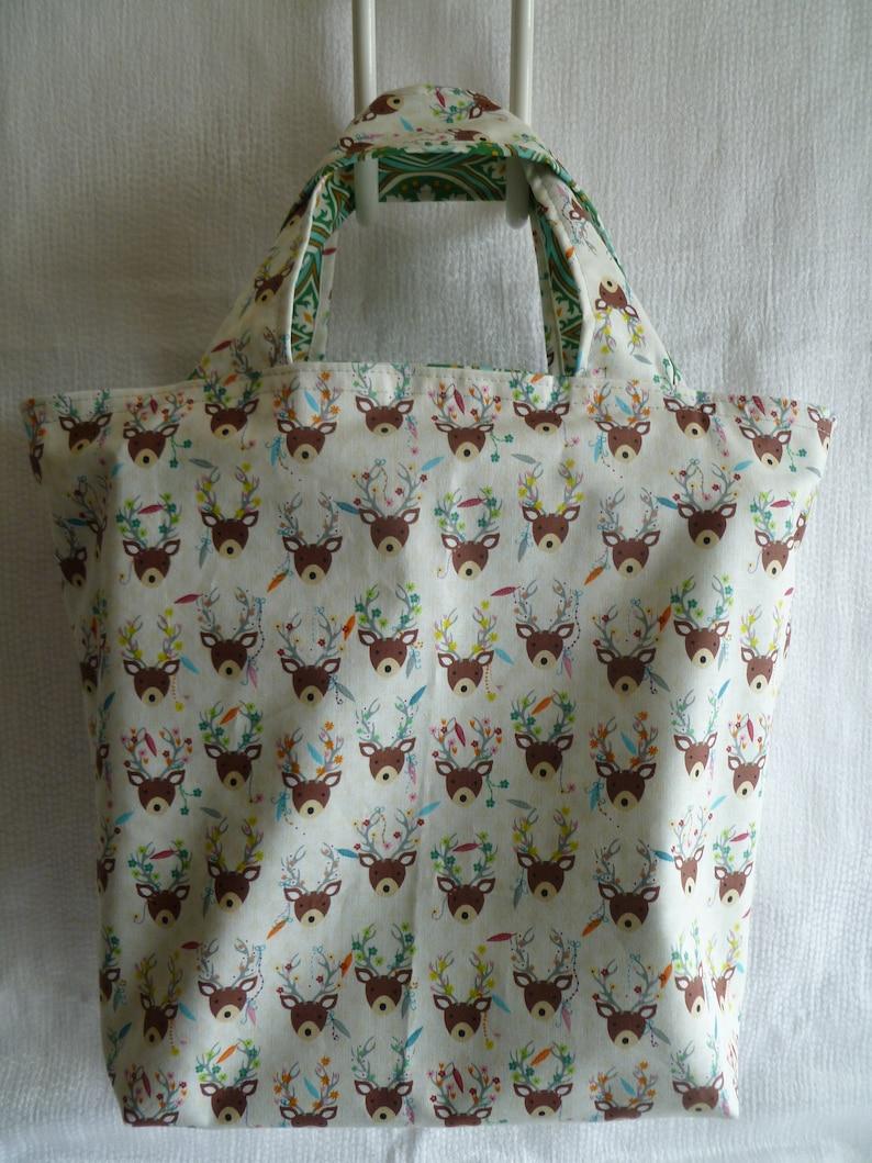 Shopping Bag Deer Snowflake Reusable Reversible Washable Multi-use Cotton Tote
