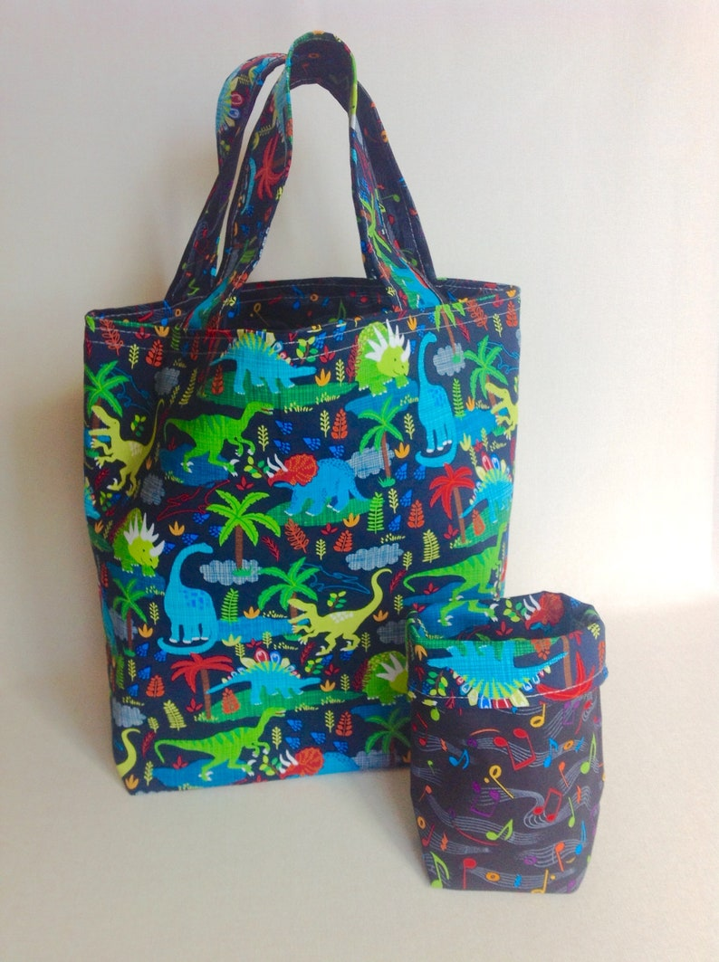 Fun Gift Bag for Children Kid/'s Colorful Cloth Tote Set Dinosaurs and Musical Notes Children\u2019s Reusable Bag Set