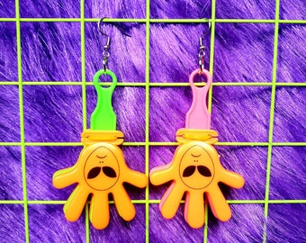 Green Pink and Red Alien Noisemaker Toy Earrings 90/'s Y2K Nostalgia Handmade Cute Adorable Kitsch Throwback