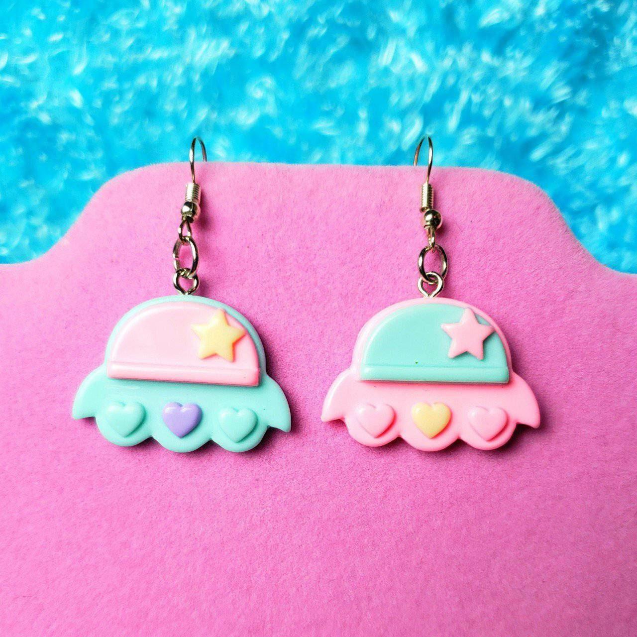 Pastel Pink Blue Ufo Alien Earrings Cute Adorable Kawaii Etsy