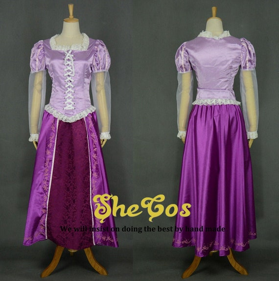 Disney Princess Rapunzel Costume adult SIZE 6,8,10,12,14,16 embroidery in satin