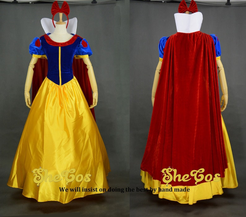 Snow White Costume Adult, Disney Princess SNOW WHITE dress Cosplay Costume  for women and kids