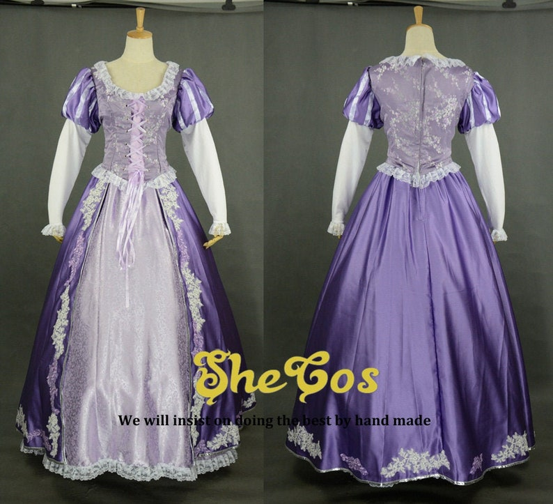 Rapunzel costume adult Disney princess Tangled Rapunzel Dress Cosplay for women and kids