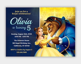 image regarding Free Printable Beauty and the Beast Birthday Invitations titled Natural beauty and the beast invites Etsy