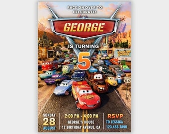 Cars Invitation Instant Download Etsy