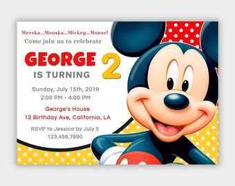 Mickey Mouse Invitation Instant Download Etsy