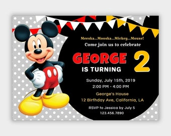 Mickey Mouse Invitation Instant Download
