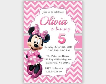 image relating to Free Printable Minnie Mouse Birthday Invitations named Minnie mouse invitation template Etsy