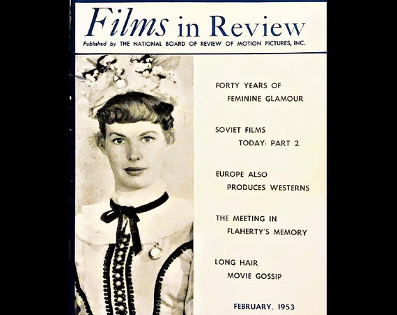 Films in Review magazine February 1953, movie stars from the 50's, Peter Pan review, Free Shipping!