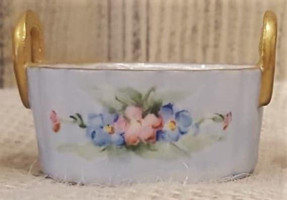 PRICE REDUCED! Vintage Nippon Porcelain Salt Cellars, set of 4, hand-painted Blue w/floral, Gold handles & Trim