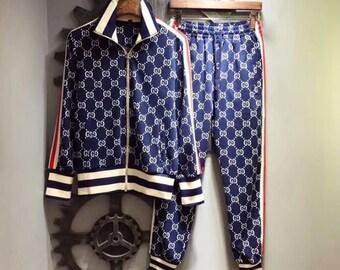 418408f04 Gucci Survetement suit ensemble Veste Pantalon Men Tracksuit Long Sleeve  Cotton Sweatshirt men new 2019 Luxe inspiré