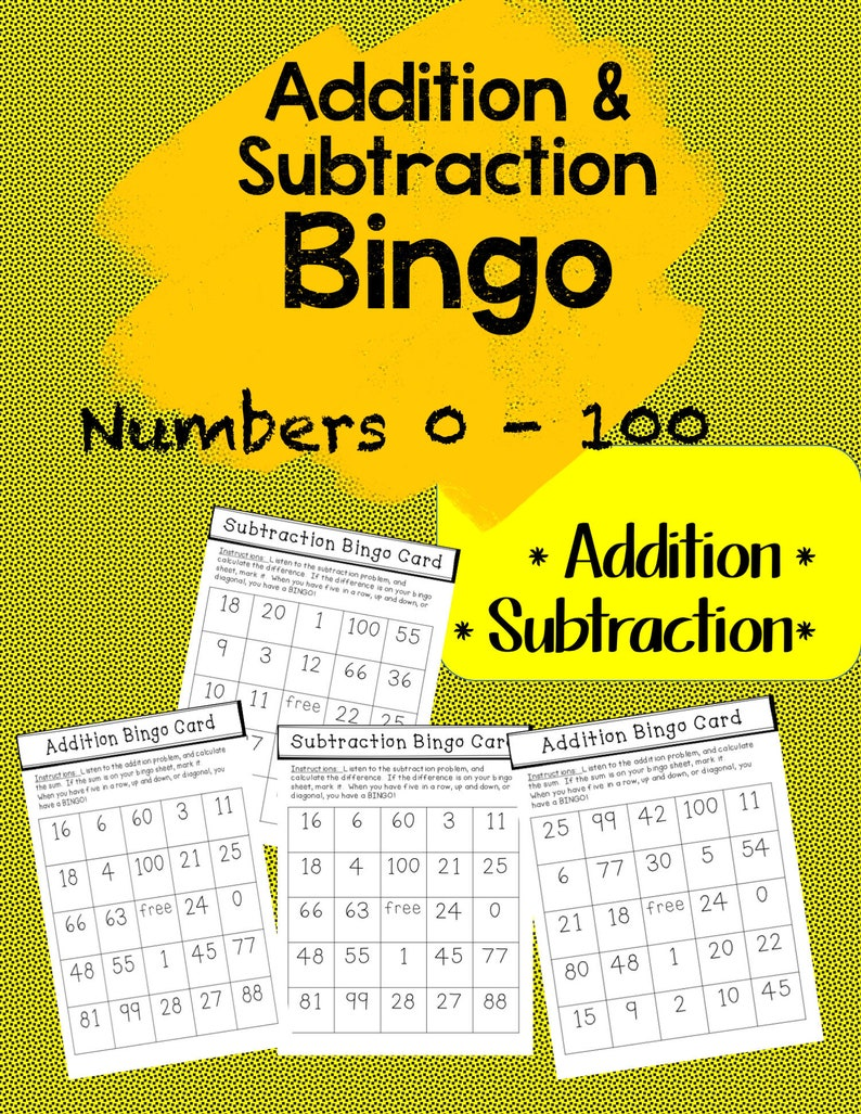 photograph regarding Math Bingo Printable identified as Math Bingo, Addition and Subtraction, Homeschool Printable, Online games, Enlightening Match, Math, Fundamental, Figures toward 100