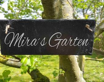 S 278 - Mein Garten Wunsch Beschriftung eigener Text Schild Schieferschild Schiefertafel