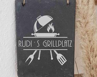 ST 488- Individuelles Grillplatz Grillecke Namensschild  Name Vornamen Schieferschild Schiefertafel Schild