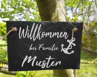 ST 149 -  willkommen bei Familie Nachname  Schieferschild Schiefertafel Schild
