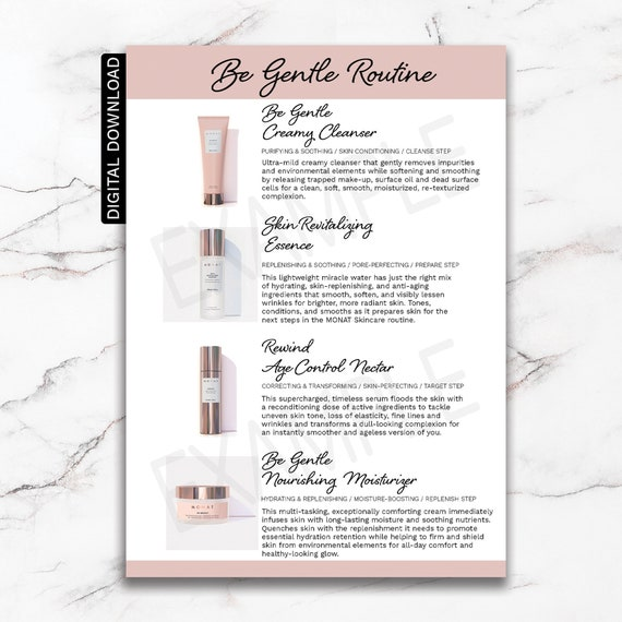 Monat Skincare Be Gentle Routine Information Card Monat Etsy