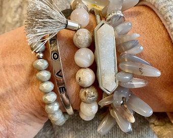 Natural 16mm Deep Carnelian Onyx Agate Elastic Bracelet 7 inches Large Beaded Bangle Beautiful Jewelry