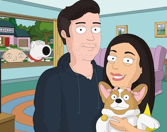 Family Guy Character Custom Cartoon Portrait , Funny Illustration , Gift for Husband Wife, Anniversary , Birthday, Mother's day Gift