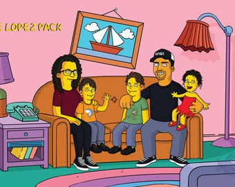 Custom Simpsons Portrait on the couch, Couple Simpson portrait, yellow portrait, Simpsons Family Portrait, Turn photo into Simpsons Portrait