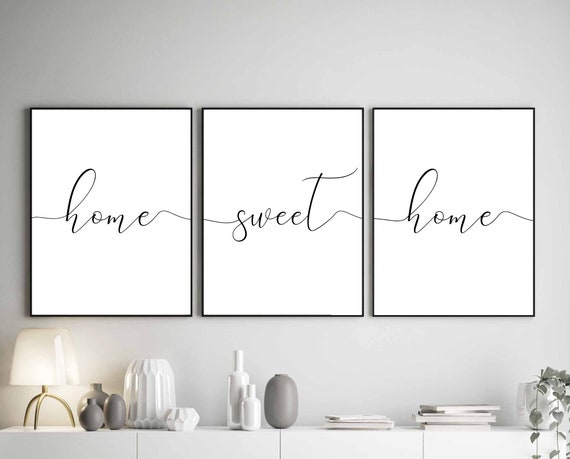 Home Sweet Home Print Above Bed Sign Printable Home Sweet Home Living Room Signs Set Of 3 Prints Family Room Sign Home Sweet Home Sign