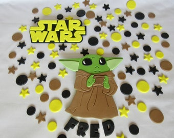 Yoda cake topper. Star Wars Yoda cake topper. Personalised Star Wars Baby Yoda. Fondant Yoda Star Wars. Yoda cake topper.