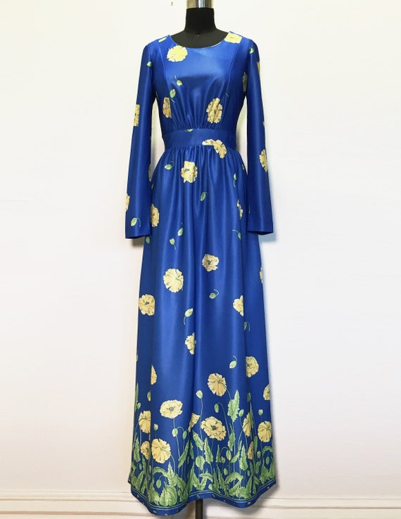 Vintage Bright Blue Maxi Dress with Yellow Flowers