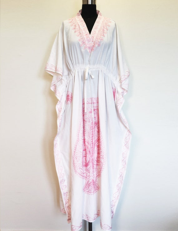 Vintage Moroccan Caftan with Pink Embroidery