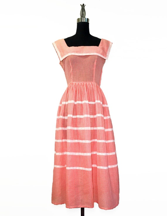 Vintage 1950s Bright Red Gingham and Lace Sundress