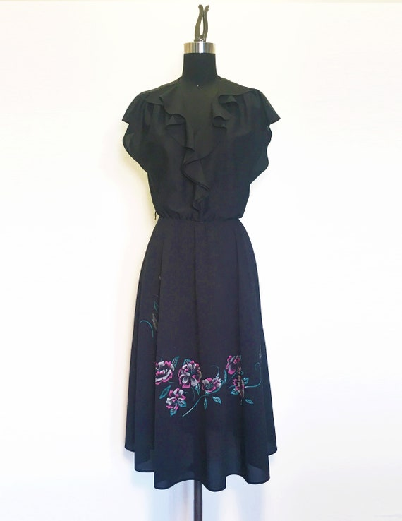 Vintage 80s Ruffle Dress with Hummingbird Floral P