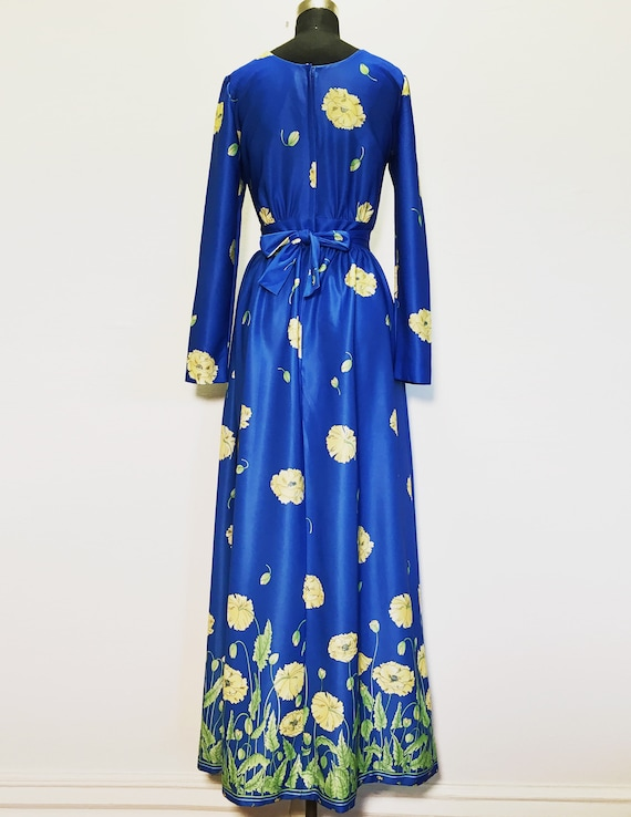 Vintage Bright Blue Maxi Dress with Yellow Flowers - image 4