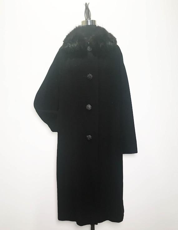 Vintage Cashmere Coat with Faux Fur Collar