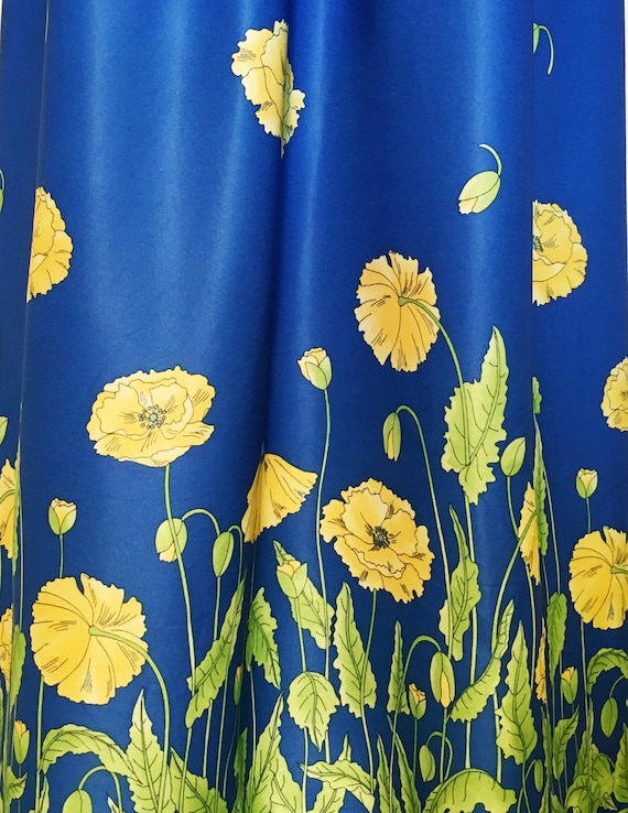 Vintage Bright Blue Maxi Dress with Yellow Flowers - image 3