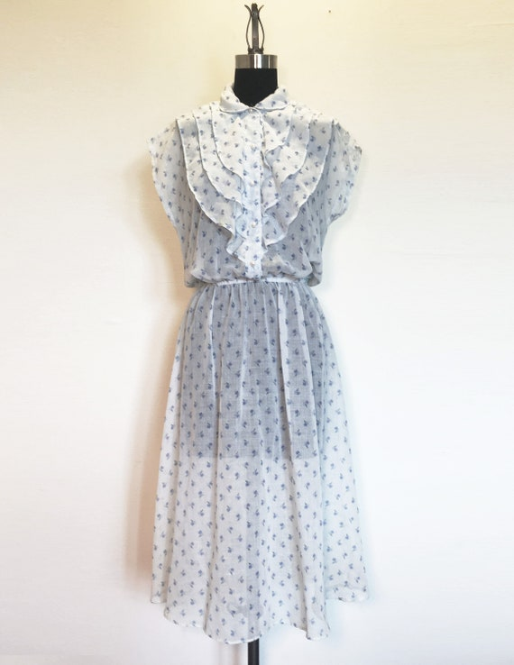 Vintage Cotton Voile Ditsy Floral Ruffle Dress