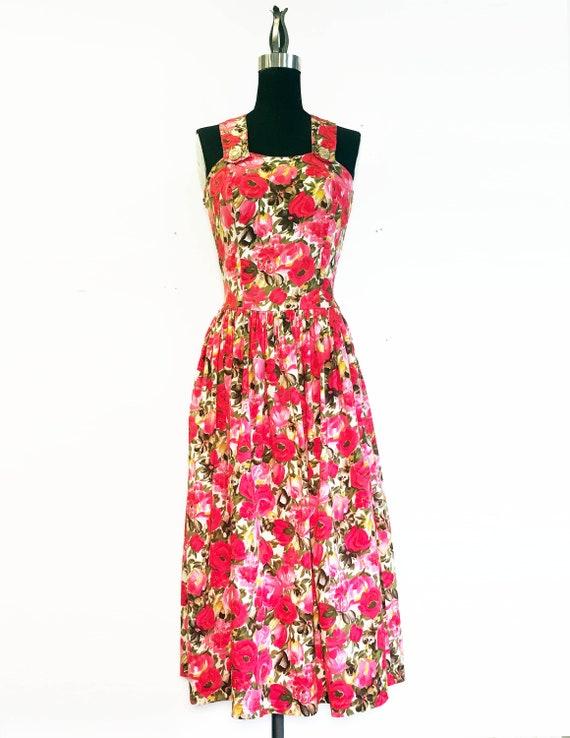 Vintage 80s Garden Party Rose Print Cotton Dress