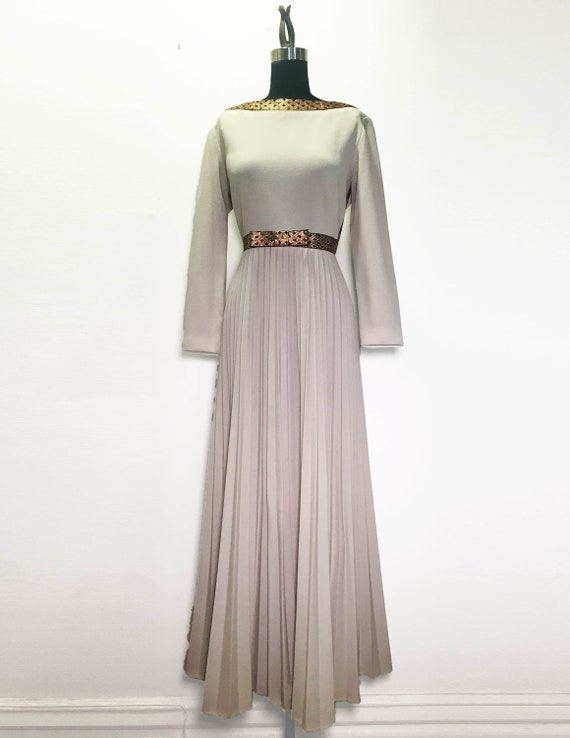 Vintage 60s 70s Maxi Dress with Metallic Ribbon