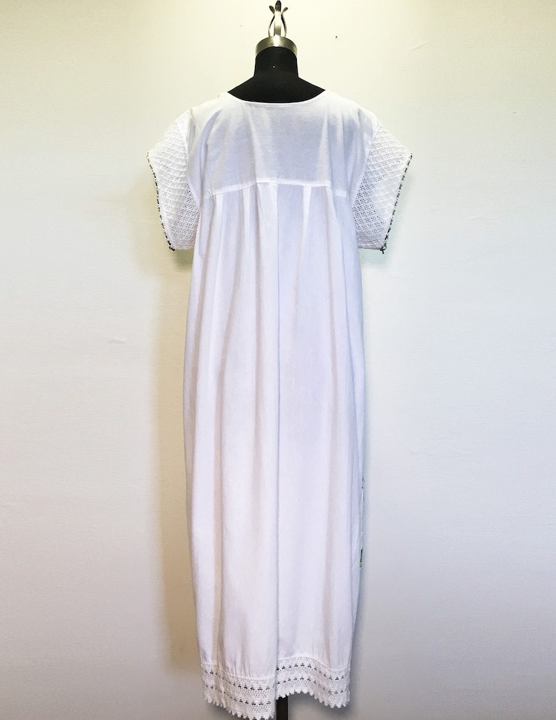 Vintage Cotton Beach Dress with Embroidery and Lace