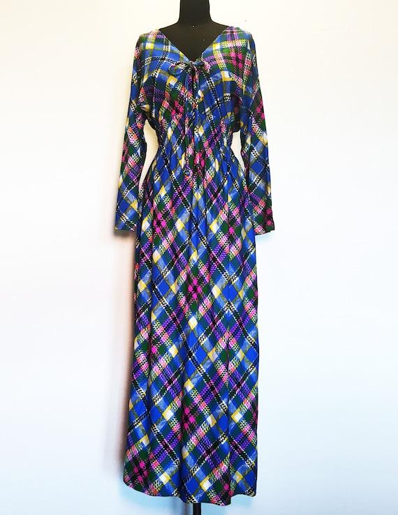 Vintage Neon Plaid Low Back Maxi Dress