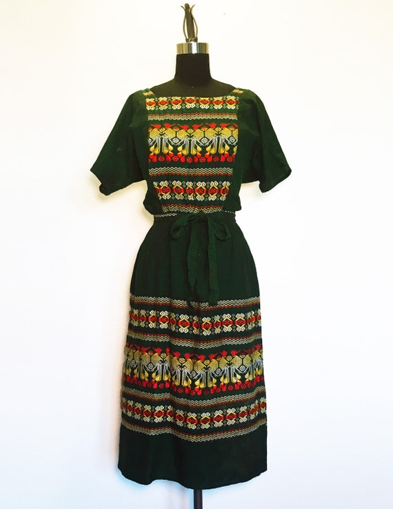 Vintage Geometric Embroidered Dress with Tie Waist