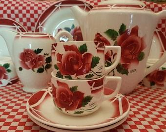 Digoin France. 30% discount. 2 rare and precious coffee cups, Cibon, hand painted. Beautiful ceramic tableware. Like new.