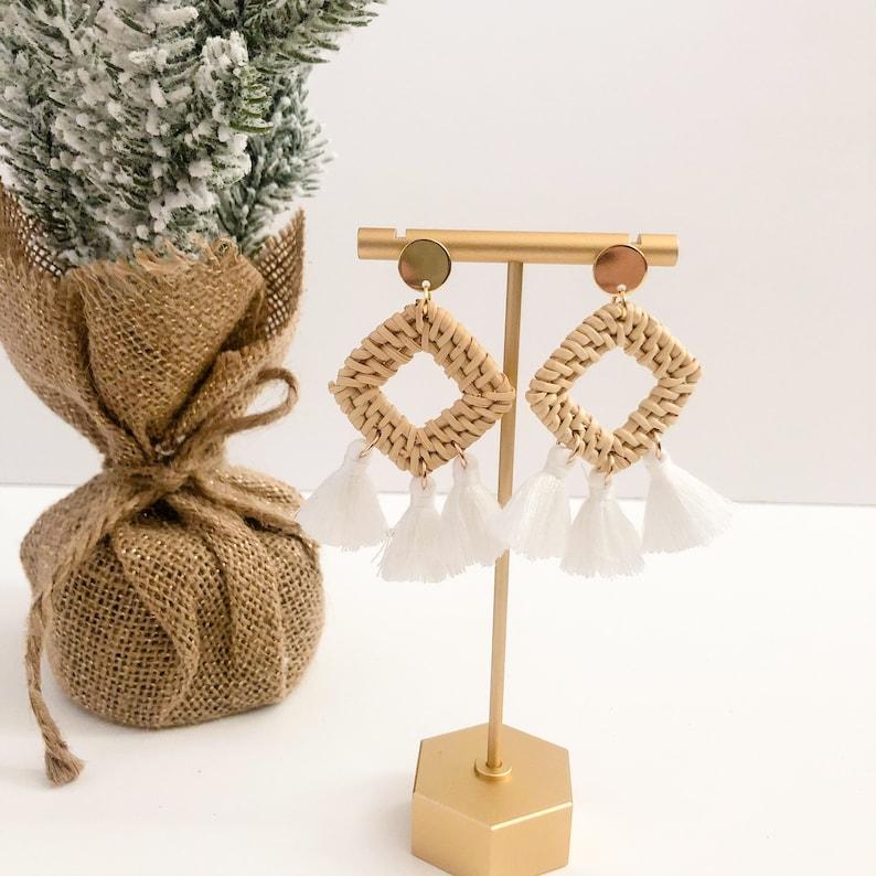 Rattan Tassel earringsmacrame earringsRattan dangles