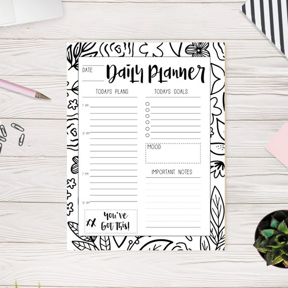 Coloring Daily Planner Printable, Undated Daily Planner PDF, Digital Hourly  Planner for GoodNotes, Black and White Floral Daily Organizer