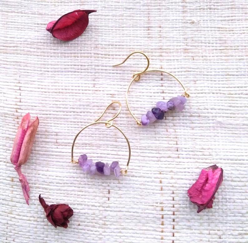 Amethyst earrings dangle Natural stone earrings February birthstone Original gift for women Raw stone jewelry Amethyst drop earrings