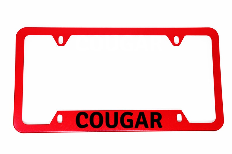 1x COUGAR RED Aluminum License Plate Frame Frames Cover With Screws & Back Protection Hiding Caps Canada Warehouse 247 HighQuality