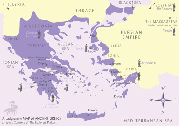 A Ladycentric Map Of Ancient Greece For Lovers Of Women S History