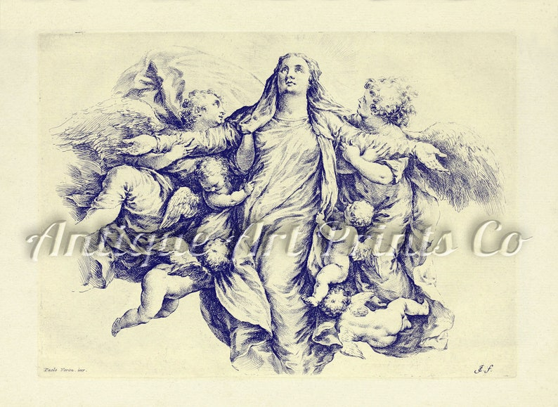 Religious Wall Art Old Engraving Antique Lithograph St Maria Vintage Wall Hanging Antique Wall Art Religious Giclee Vintage drawing