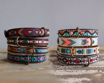 Navajo Style Tag holder. Dog neck band. Pet tag holder. Leather dog collar. Embroidery collar. Personalized dog collar. Thin collar. Cat collar.